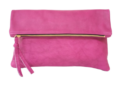 Oversized leather fold clutch