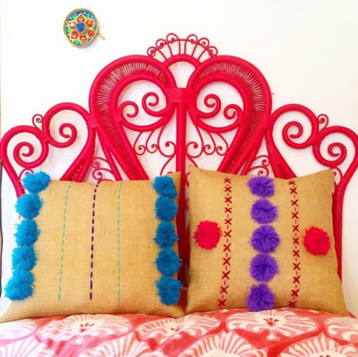 Red Wicker Headboard via OKL | Covet Living