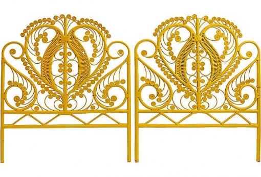 Wicker Scroll Yellow Headboards via OKL | Covet Living