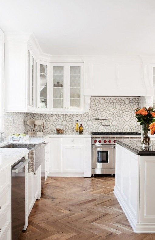 White Kitchen, Gold Backsplash | Covet Living