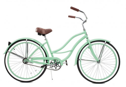 26in Ladies Mint and White Beach Cruiser | Covet Living
