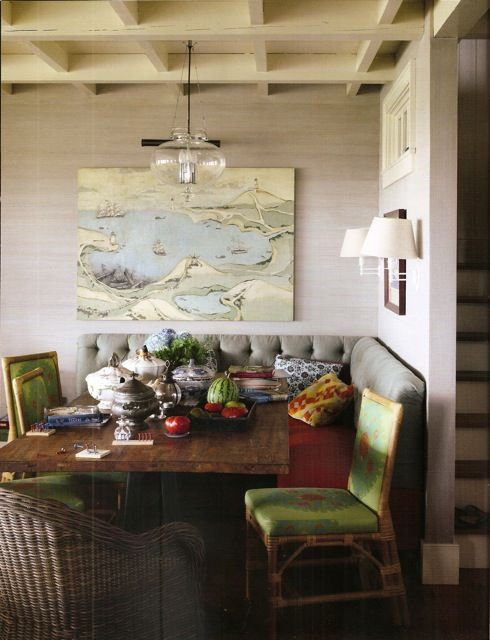 Built-In Banquette, Jeffrey Bilhuber | Casa Karrie & Tim | Covet Living