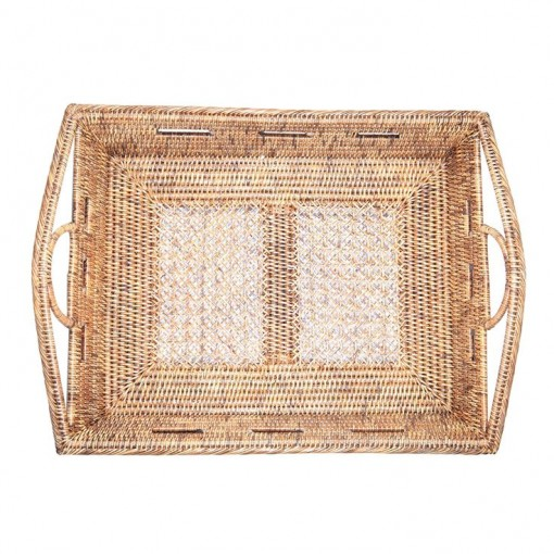 Woven Rattan Tray with handles