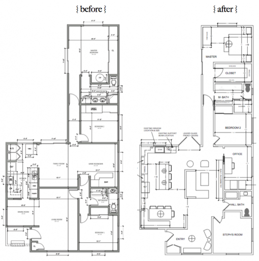 Casa Covet Living | Floorplan Before & After | Stephanie Ballard Interiors