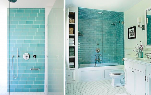 master bath | blue glass tile