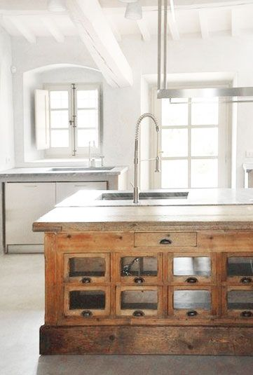reclaimed shop counter as island | covet living