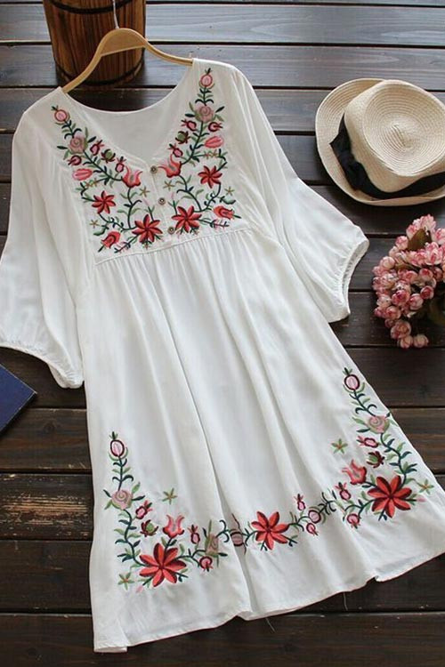 Cupshe Free Spirit Embroidered Dress