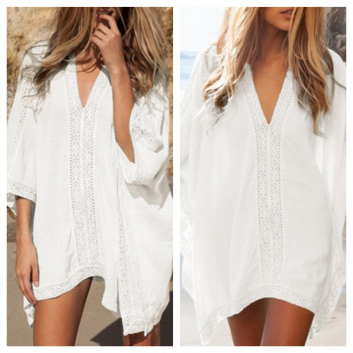 SheIn White Deep V-Neck Loose Dress | Covet Living