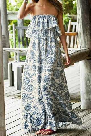Strapless Flounce Printed Maxi | Covet Living