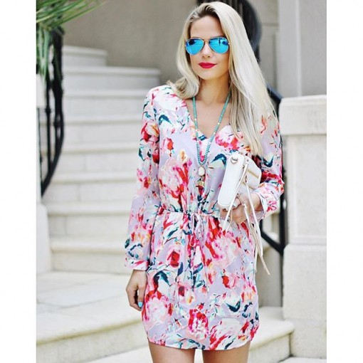 SheIn Multicolour Long Sleeve Floral Print Dress