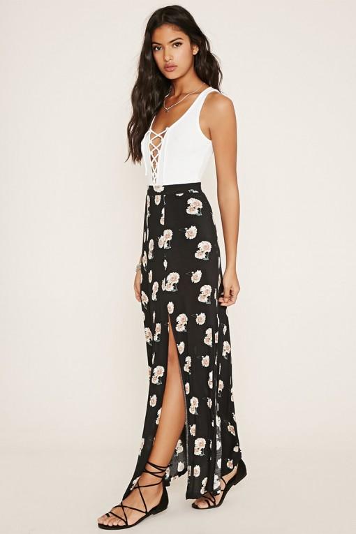 Floral Slit Maxi Skirt