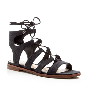 Snake Embossed Gladiator Lace Up Sandals