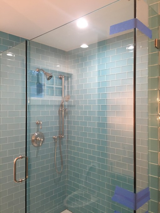 master shower, blue glass tile | casa covet living