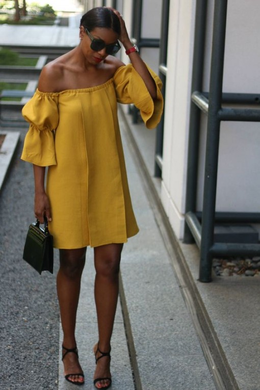 mustard off shoulder