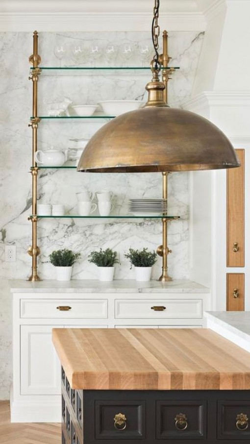Brass Pendant in Kitchen | Covet Living